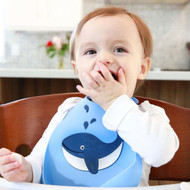 Make My Day Silicone Baby Bib - Blue Whale