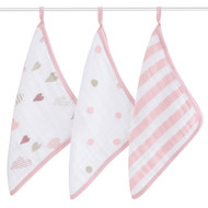 aden + anais 3 Pack Muslin Washcloth Set - Heartbreaker