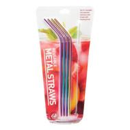 Rainbow Reusable Metal Drinking Straws - 4 Pack