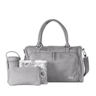 Isoki Double Zip Satchel Diaper Baby Bag - Portsea (Grey)