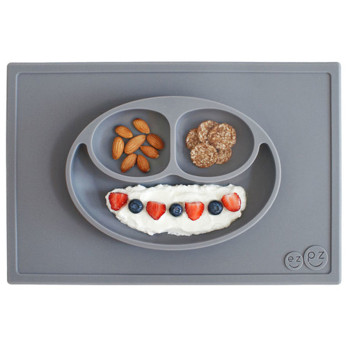 ezpz Infant Happy Mat - Grey Suction Placemat