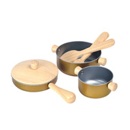 PlanToys Eco Cooking Utensils Play Set - wooden pretend toys