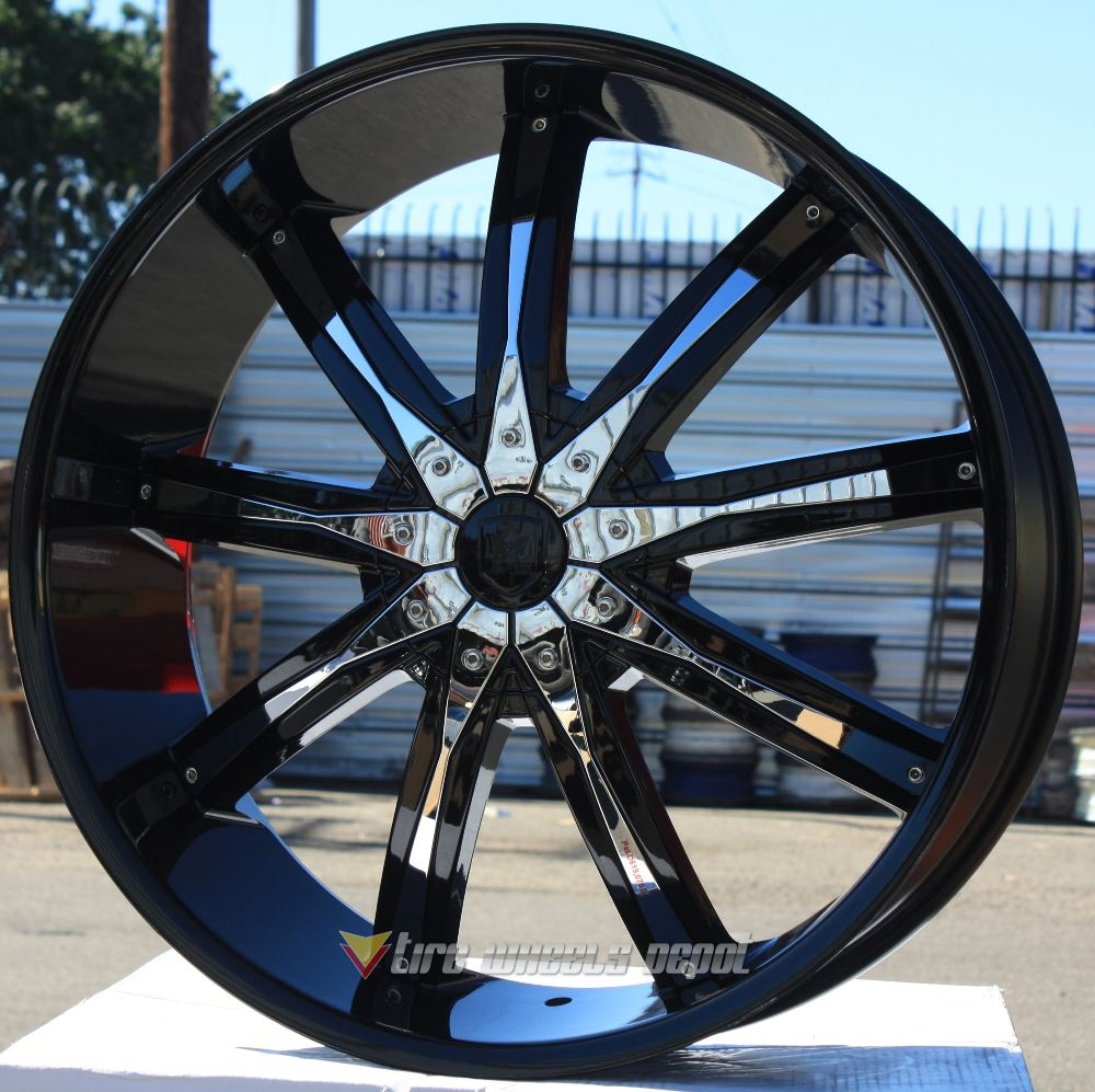 """24"""" INCH AVICCI DW29 BLACK CHROME INSERTS WHEELS AND TIRES"""