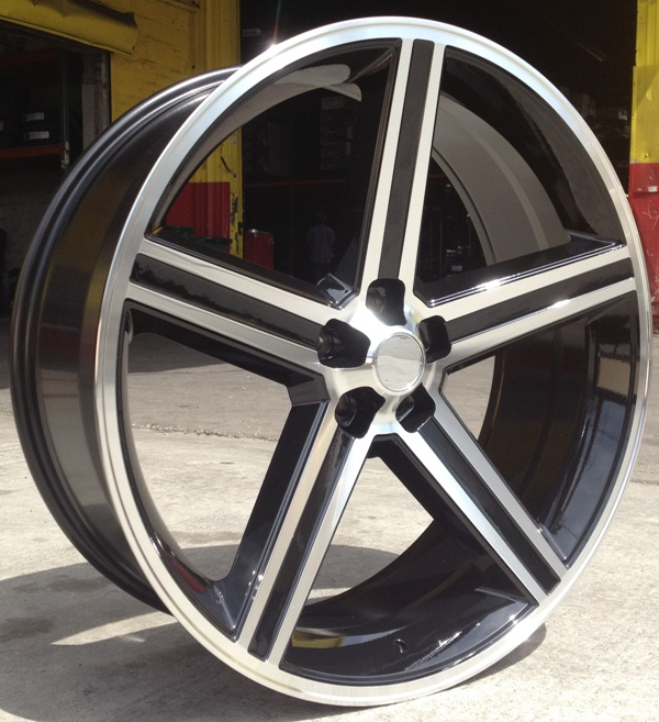 """22"""" INCH IROC BLACK AND MACHINE WHEELS AND TIRES FITS 5"""