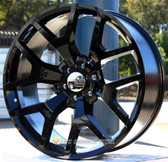 "22"" INCH STW288 SIERRA REPLICA GLOSS  BLACK WHEELS AND TIRES 6X5.5 FITS 6 LUG AVALANCHE  ESCALADE SUBURBAN SIERRA SILVERADO TAHOE YUKON"