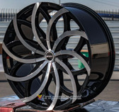"22"" INCH STRADA HURACAN BLACK AND MACHINE WHEELS AND TIRES FITS REAR WHEEL DRIVE CHARGER MAGNUM CHALLENGER CHRYSLER 300 5X115 CROWN VICTORIA EXPLORER TOWN CAR GRAND MARQUIS"