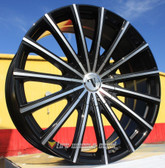 """24"""" INCH VELOCITY 10 BLACK AND MACHINE WHEELS AND TIRES FITS REAR WHEEL DRIVE CHARGER MAGNUM CHALLENGER CHRYSLER 300 5X115 CROWN VICTORIA EXPLORER TOWN CAR GRAND MARQUIS"""