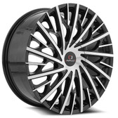 "22"" INCH CAVALLO CLV-30 BLACK AND MACHINE WHEELS AND TIRES FITS REAR WHEEL DRIVE CHARGER MAGNUM CHALLENGER CHRYSLER 300 5X115 CROWN VICTORIA EXPLORER TOWN CAR GRAND MARQUIS"