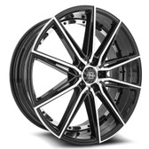 "22"" INCH BLADE BRT-459 BLACK AND MACHINE WHEELS AND TIRES FITS REAR WHEEL DRIVE CHARGER MAGNUM CHALLENGER CHRYSLER 300 5X115 CROWN VICTORIA EXPLORER TOWN CAR GRAND MARQUIS"