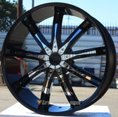 "24"" INCH AVICCI DW29 BLACK WITH CHROME INSERTS WHEELS AND TIRES FITS REAR WHEEL DRIVE CHARGER MAGNUM CHALLENGER CHRYSLER 300 5X115 CROWN VICTORIA EXPLORER TOWN CAR GRAND MARQUIS"