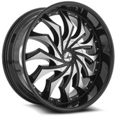 "24"" INCH AZARA AZA-515 BLACK AND MACHINE  WHEELS AND TIRES FITS REAR WHEEL DRIVE CHARGER MAGNUM CHALLENGER CHRYSLER 300 5X115 CROWN VICTORIA EXPLORER TOWN CAR GRAND MARQUIS"