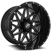 "24"""" INCH XF OFFROAD XF211 BLACK AND MACHINE WHEELS AND 35"" TIRES 6X5.5 FITS 6 LUG AVALANCHE  ESCALADE SUBURBAN SIERRA SILVERADO TAHOE YUKON (LIMITED)"