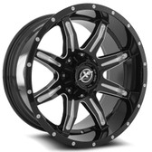 "24"" INCH XF OFFROAD XF215 BLACK AND MACHINE WHEELS AND 35"" TIRES 6X5.5 FITS 6 LUG AVALANCHE  ESCALADE SUBURBAN SIERRA SILVERADO TAHOE YUKON (LIMITED)"