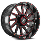 "20"" INCH XF OFFROAD XF216 BLACK AND RED WHEELS AND 33"" TIRES 6X5.5 FITS 6 LUG AVALANCHE  ESCALADE SUBURBAN SIERRA SILVERADO TAHOE YUKON"