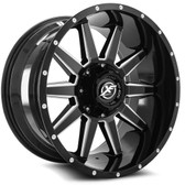 "22"" INCH XF OFFROAD XF219 BLACK AND MACHINE WHEELS AND 37"" TIRES 6X5.5 FITS 6 LUG AVALANCHE  ESCALADE SUBURBAN SIERRA SILVERADO TAHOE YUKON"