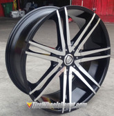 "24"" INCH BORGHINI 20 BLACK AND MACHINE WHEELS WITH TIRES FITS 5X127 IMPALA SS 2WD 5 LUG TAHOE YUKON SUBURBAN 1500 C10 FLEETWOOD ROADMASTER CAPRICE WRANGLER"