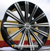 "24"" INCH BORGHINI 18 BLACK AND MACHINE WHEELS WITH TIRES FITS 5X127 IMPALA SS 2WD 5 LUG TAHOE YUKON SUBURBAN 1500 C10 FLEETWOOD ROADMASTER CAPRICE WRANGLER"
