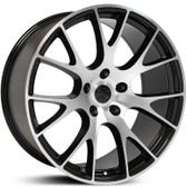 "24"" INCH HELLCAT REPLICA BLACK AND MACHINE WHEELS WITH TIRES FITS 5X139.7 OR 5X5.5  RAM DURANGO DAKOTA BRONCO 96 F150"