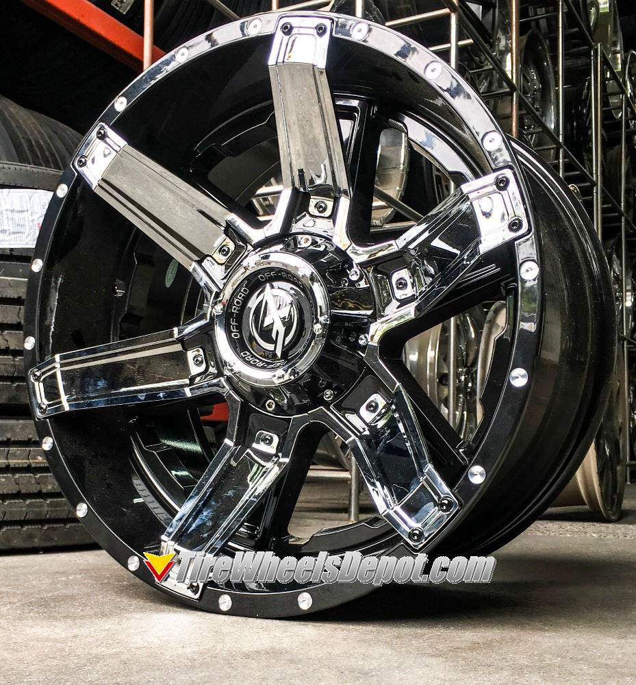 20 Inch Xf Off Road Xf214 Gloss Black With Chrome Inserts Wheels And 33 Tires 6x5 5 Fits 6 Lug Avalanche Escalade Suburban Sierra Silverado Tahoe Yukon Tire Wheels Depot