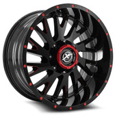 "20"" INCH XF OFF ROAD XF221 GLOSS BLACK AND RED WHEELS AND 33"" TIRES 6X5.5 FITS 6 LUG AVALANCHE  ESCALADE SUBURBAN SIERRA SILVERADO TAHOE YUKON"