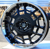 "22"" INCH TIS-011 BLACK WITH STAINLESS STEEL LIP WHEELS AND TIRES FITS REAR WHEEL DRIVE CHARGER MAGNUM CHALLENGER CHRYSLER 300 5X115 CROWN VICTORIA EXPLORER TOWN CAR GRAND MARQUIS"