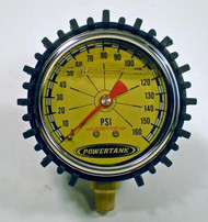 Tire Inflator Gauge Liquid Filled 2.5 Inch 0-160 PSI 1/8 Inch Lower Stem Includes Rubber Cover Power Tank