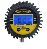 Digital Tire Inflator Gauge 60 PSI 2.5 Inch Diameter 1/8 NPT Threads Lower Power Tank