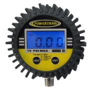 Digital Tire Inflator Gauge 15 PSI 2.5 Inch Diameter 1/8 NPT Threads Lower Power Tank