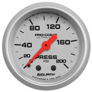 Auto Meter 4334 Ultra-lite Pressure Gauge 0-200 Psi