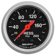 Auto Meter 3334 Sport-comp Pressure Gauge 0-200 Psi