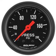 Auto Meter 2657 Z-series Pressure Gauge 0-200 Psi