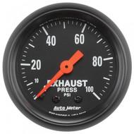 Autometer Z-series Exhaust Pressure Gauge 0-100 Psi 2619