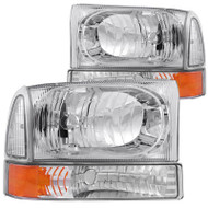 ANZO Chrome Headlights (amber Corner) For 1999-2004 Ford Super Duty * 111081