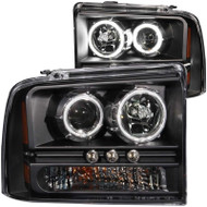 ANZO Projector With Halos (black) For 2005-2007 Ford Super Duty 111117