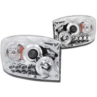 ANZO Chrome Projector Headlights With Led Halo For 06-09 Dodge Ram 2500* 111210
