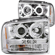 ANZO Chrome Projector Headlights For 2005-2007 Ford Super Duty 111118