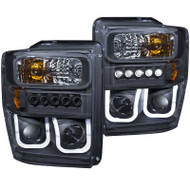 ANZO Back U-bar Style Projector Headlights For 2008-2010 Ford Super Duty 111305