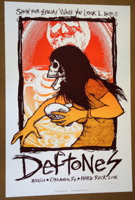 THE DEFTONES- ORLANDO - HARD ROCK LIVE - 2013 - JERMAINE ROGERS -TOUR POSTER