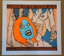 QUEENS OF THE STONE AGE - NASHVILLE  - 2013 - WHITE - JERMAINE ROGERS -  TOUR POSTER