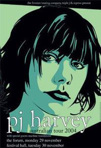 P J HARVEY - 2004 - AUSTRALIAN CONCERT - JOE WHYTE - FESTIVAL HALL - TOUR POSTER