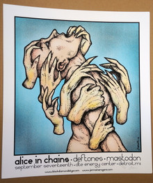 THE DEFTONES - MASTODON - ALICE IN CHAINS - DETROIT - 2010 - POSTER - JERMAINE ROGERS
