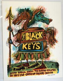 BLACK KEYS - 2008 - BOSTON - DAN GRZECA - ORPHEUM THEATER - TOUR POSTER