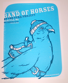 BAND OF HORSES - VERA PROJECT - BLUE -SEATTLE - MYSPACE SECRET SHOW POSTER