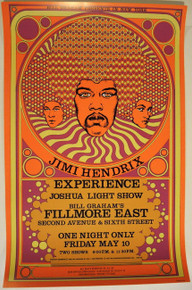 JIMI HENDRIX - FILLMORE EAST - 1968 - BILL GRAHAM - POSTER - DAVID BYRD - NEW YORK