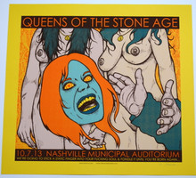 QUEENS OF THE STONE AGE - YELLOW  VARIANT RARE- NASHVILLE  - 2013 - JERMAINE ROGERS - POSTER