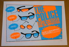 THE POLICE - ELVIS COSTELLO - IMPOSTERS - ORANGE - 2008 - TOUR POSTER - STAINBOY