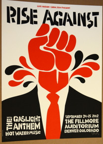 RISE AGAINST - FILLMORE - DENVER - GASLIGHT ANTHEM  - TOUR POSTER - DAN STILES