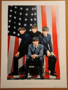 THE BEATLES -  LITHOGRAPH - POSTER - 1964 - SHEA  - IN THE USA - AMERICAN FLAG