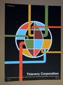 THIEVERY CORPORATION - RED ROCKS 2012 - TOUR POSTER - AFROLICIOUS - DAN STILES