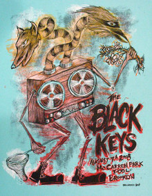 THE BLACK KEYS - 2008 - BROOKLYN - DAN GRZECA - TOUR POSTER  - MCCARRIN PARK
